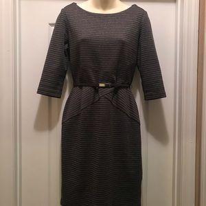White Black Market Gray Dress w/silver pin stripes